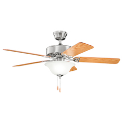 Kichler Three Light Brushed Stainless Steel Ceiling Fan