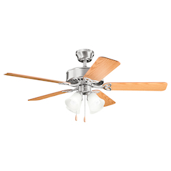 Kichler Four Light Brushed Stainless Steel Ceiling Fan
