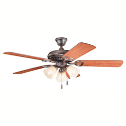 Kichler Three Light Oil Brushed Bronze Ceiling Fan