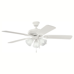 Kichler Three Light Satin Natural White Ceiling Fan