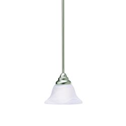 Kichler Brushed Nickel Telford Single-Bulb Indoor Pendant With Bell-Shaped Glass Shade