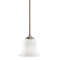 Kichler Brushed Nickel Wedgeport Single-Bulb Indoor Pendant With Bell-Shaped Glass Shade