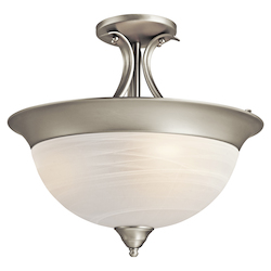 Kichler Brushed Nickel Dover 3 Light Semi-Flush Indoor Ceiling Fixture