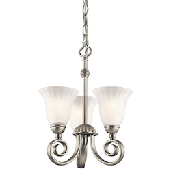 Kichler Brushed Nickel Convertible Mini Chandelier / Semi Flush Ceiling Light