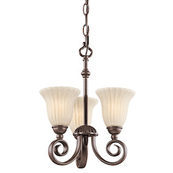 Kichler Three Light Tannery Bronze Up Chandelier