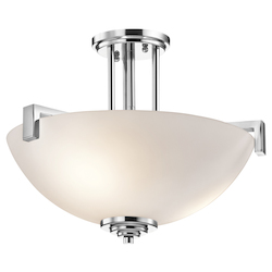 Kichler Three Light Chrome Bowl Semi-Flush Mount