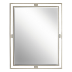 Kichler Brushed Nickel Hendrik Rectangle Beveled Framed Mirror