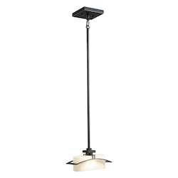 Kichler Black (Painted) Suspension Single-Bulb Indoor Pendant With Square Glass Shade