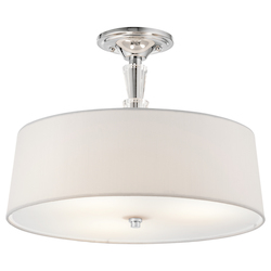 Kichler Chrome Crystal Persuasion 3 Light Semi-Flush Indoor Ceiling Fixture