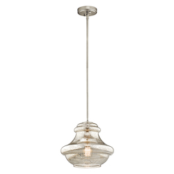 Kichler Single-Bulb Indoor Pendant With Schoolhouse-Style Mercury Glass Shade