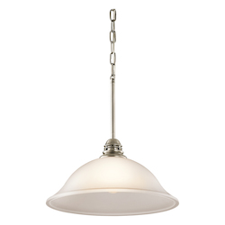 Kichler Antique Pewter Durham Single-Bulb Indoor Pendant With Dome-Shaped Glass Shade