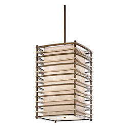 Kichler Cambridge Bronze Moxie 4-Bulb Indoor Pendant With Rectangular Fabric Shade