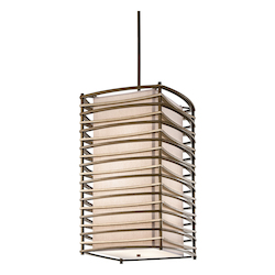Kichler Cambridge Bronze Moxie 6-Bulb Indoor Pendant With Rectangular Fabric Shade