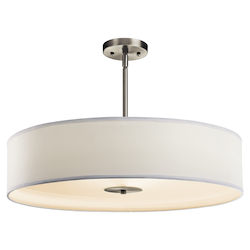 Kichler Brushed Nickel 3 Light 24In. Wide Convertible Pendant With Drum Fabric Shade