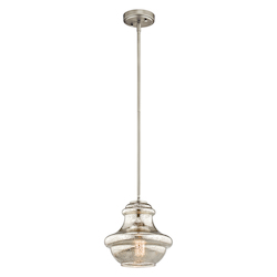 Kichler Brushed Nickel Everly 1 Light Mini Pendant With Mercury Glass Shade