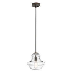Kichler Bronze Everly Singlebulb Indoor Pendant With Schoolhouse-Style Clear Glass Shade
