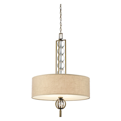 Kichler Cambridge Bronze Celestial 3-Bulb Indoor Pendant With Drum-Shaped Fabric Shade