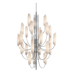 Kichler Chrome Stella 24 Light 36In. Wide Chandelier With Etched Glass Shades