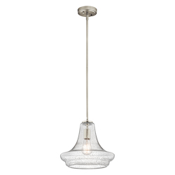 Kichler Nickel Single-Bulb Indoor Pendant With Schoolhouse-Style Clear Seedy Glass Shade