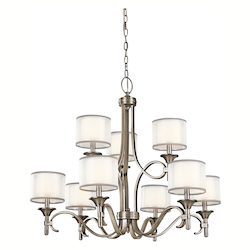 Kichler Kichler 42382Ap Antique Pewter Lacey 2-Tier  Chandelier With 9 Lights