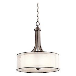Kichler Four Light Mission Bronze Drum Shade Pendant