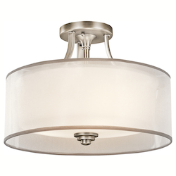 Kichler Kichler 42386Ap Antique Pewter Lacey 3 Light Semi-Flush Indoor Ceiling Fixture