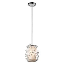 Kichler Chrome Jardine Single-Bulb Indoor Pendant With Cylindrical Glass Shade