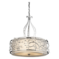 Kichler Chrome Jardine 3-Bulb Indoor Pendant With Drum-Shaped Glass Shade