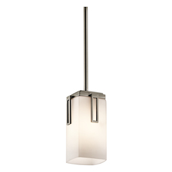 Kichler Antique Pewter Leeds Single-Bulb Indoor Pendant With Rectangular Glass Shade