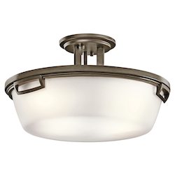 Kichler Shadow Bronze Leeds 3 Light Semi-Flush Indoor Ceiling Fixture