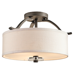 Kichler Olde Bronze Leighton 3 Light Semi-Flush Indoor Ceiling Fixture