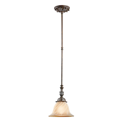 Kichler Legacy Bronze Sarabella Single-Bulb Indoor Pendant With Bell-Shaped Glass Shade