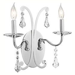 Kichler Chrome 2 Light 2 Light Up Lighting Wall Sconce From The Leanora Collection