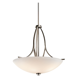 Kichler Brushed Pewter Granby 3-Bulb Indoor Pendant With Bowl-Shaped Glass Shade