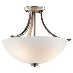 Kichler Brushed Pewter Granby 3 Light Semi-Flush Indoor Ceiling Fixture