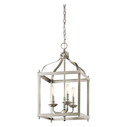 Kichler Brushed Nickel Larkin 3 Light 12In. Wide Chandelier With Metal Cage Frame