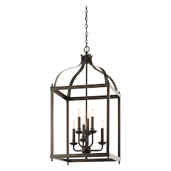 Kichler Six Light Olde Bronze Open Frame Foyer Hall Fixture