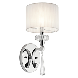 Kichler Chrome Parker Point Single Light 16In. Tall Wall Sconce With K9 Crystal Accents