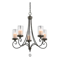 Kichler Five Light Shadow Bronze Up Chandelier