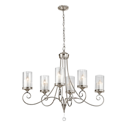 Kichler Kichler 42862Clp Classic Pewter Lara Single-Tier Oval Chandelier With 6 Lights
