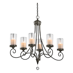 Kichler Six Light Shadow Bronze Up Chandelier