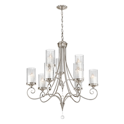 Kichler Kichler 42863Clp Classic Pewter Lara 2-Tier  Chandelier With 9 Lights