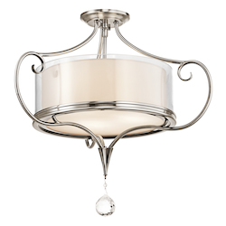 Kichler Classic Pewter Laurel 3 Light Semi-Flush Indoor Ceiling Fixture
