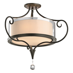 Kichler Two Light Shadow Bronze Drum Shade Semi-Flush Mount