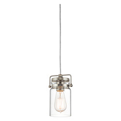 Kichler Brushed Nickel Brinley Single-Bulb Indoor Pendant With Jar-Style Glass Shade