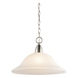 Kichler Brushed Nickel Nicholson Single-Bulb Indoor Pendant With Dome-Shaped Glass Shade