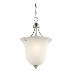 Kichler Brushed Nickel Nicholson Single-Bulb Indoor Pendant With Urn-Style Glass Shade