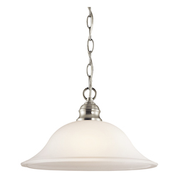 Kichler Brushed Nickel Single-Bulb Indoor Pendant With Dome-Shaped Glass Shade