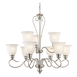 Kichler Kichler 42907Ni Brushed Nickel Tanglewood 2-Tier  Chandelier With 9 Lights