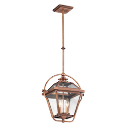 Kichler Antique Copper Ryegate 2-Bulb Indoor Pendant With Lantern-Style Glass Shade
